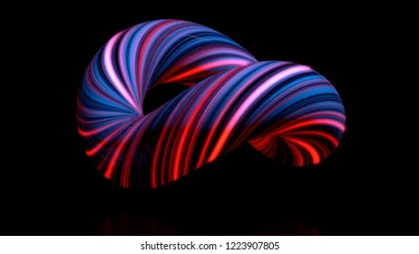 Coloured curved figure torus. Three-dimensional animation of bundle of twisted in circle of luminous threads. Abstract neon animation of torus in isolated space