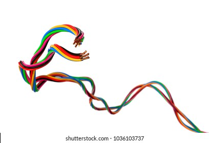 Coloured Electrical Wires isolated on White Background. 3D illustration