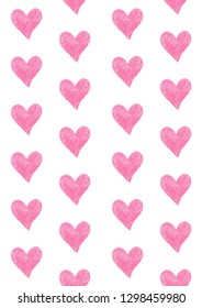 coloured pencil seamless pattern pink romantic heart design for valentine's day, illustration background