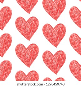 coloured pencil seamless pattern red romantic heart design for valentine's day, illustration background