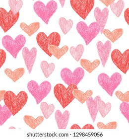 coloured pencil seamless pattern romantic heart design for valentine's day, illustration background