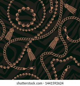 Coloured seamless pattern of chains on a dark background. Ideal for printing on fabric. Raster