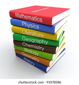 Coloured textbooks, built in a pile. Isolated 3d