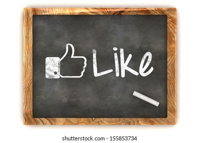 """A Colourful 3d Rendered Concept Illustration showing """"Like us"""", as used on social networks writen on a Blackboard with white chalk"""