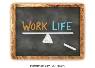 A Colourful 3d Rendered Concept Illustration showing a balance between work and life, written on a blackboard