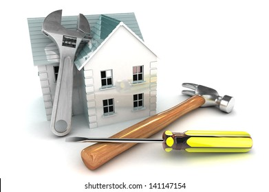 A Colourful 3d Rendered Home Improvement Concept Illustration