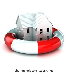 A Colourful 3d Rendered House in a Lifebuoy Concept Illustration