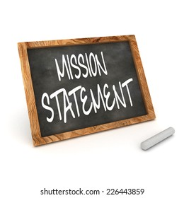 A Colourful 3d Rendered Illustration of a Blackboard showing Mission Statement