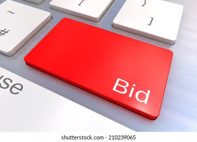 A Colourful 3d Rendered Illustration showing Bid on a Computer Keyboard