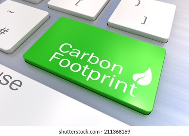 A Colourful 3d Rendered Illustration showing a Green Eco Concept on a Computer Keyboard