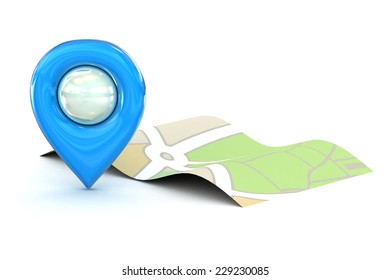 A Colourful 3d Rendered Map or GPS Marker Icon