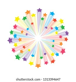 Colourful abstract background with a burst of rays and stars exploding from the center.