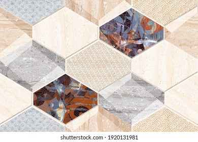 Colourful abstract geometric design for kitchen and wall tiles also use for web, textile etc - 3D Illustration