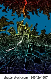Colourful City Map of Sydney, Australia
