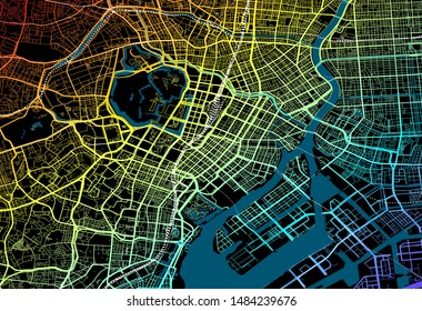 Colourful City Map of Tokyo, Japan