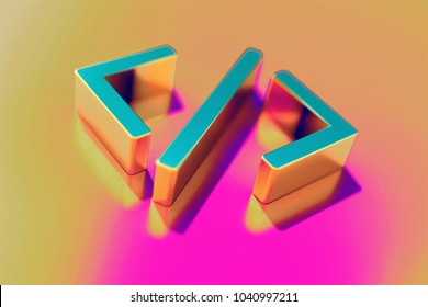 Colourful Code Icon on Candy Pink-Yellow Background With Art Focus. 3D Illustration of Code, Coding, Html, Programming, Web Icon Set for Presentation.