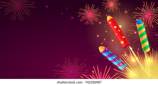 Colourful exploding rockets set on bright background. Salutes banners with bengal fires, petards explosions in cartoon style flat design. Collection of fireworks and New Year decoration attributes