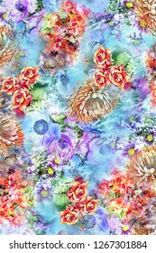 Colourful Flower Cute Background Color Pattern Image  Graphics Digital Vintage