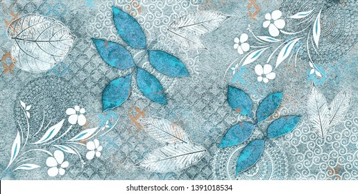 Colourful flower on dark tropical foliage nature background. Striped of palm leaf, Abstract Blue texture background, Vintage tone theme. abstract home decorative art oil paint wall tiles design.