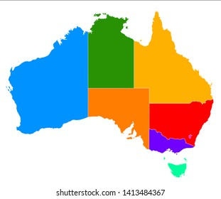 Colourful illustration of the map of Australia illustrating the borderlines of each state and territory.