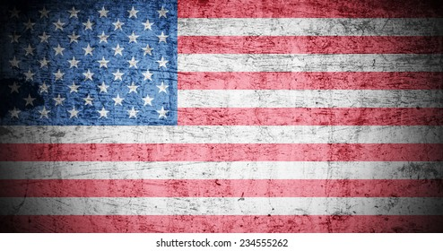 A Colourful Illustration on an American Flag in a Grunge Style