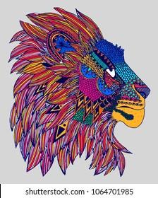 Colourful lion print