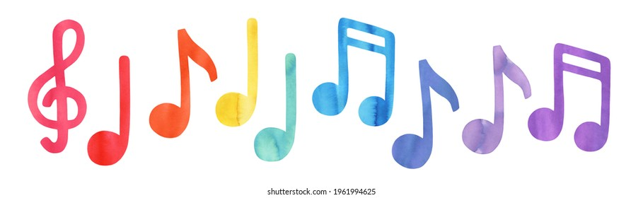 Colourful music note symbols of different color: pink, red, orange, yellow, green, blue, cyan, purple, violet. Hand painted watercolour sketch, isolated clipart elements for design, pattern, stickers.