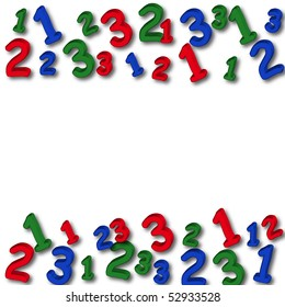 Colourful numbers making a border on a white background, number border