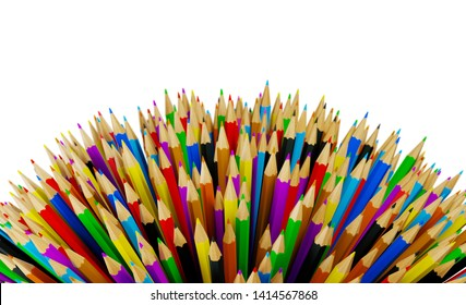 Colourful Pencils isolated on White Background. 3D illustration