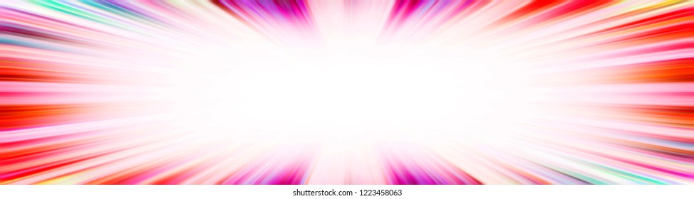 Colourful red and purple starburst explosion banner with a white copy space centre
