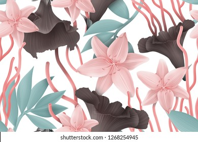 Colourful Seamless Pattern with tropic flowers and leaves. Hi quality fashion design. Fresh and unique botanical background