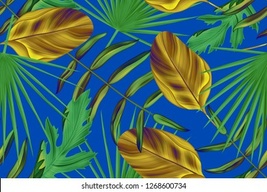 Colourful Seamless Pattern with tropic  leaves. Leaf background botanical style. Stylish tropic print. Tropical leaf fashion pattern.