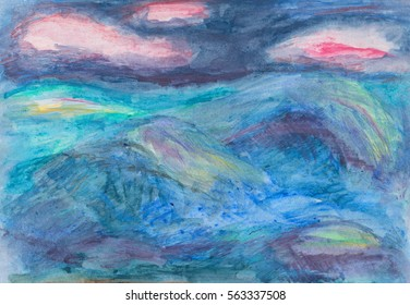 A colourful semi abstract seascape with pink clouds. A hand drawn illustration, painting of the sea and sky, the sea has textured waves and the dark blue sky has pink clouds.