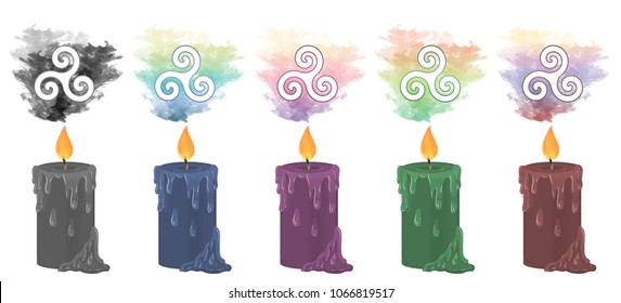 Colourful smoke rising from decorative candles with the triple spiral symbol floating above.