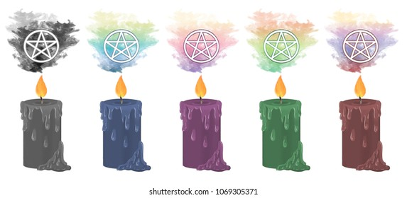 Colourful smoke rising from decorative candles with the pentacle symbol floating above.