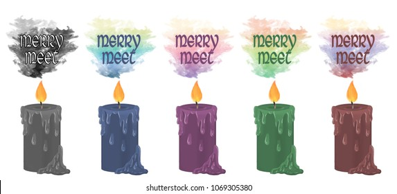 """Colourful smoke rising from decorative candles with the wiccan greeting """"merry meet"""" floating above."""