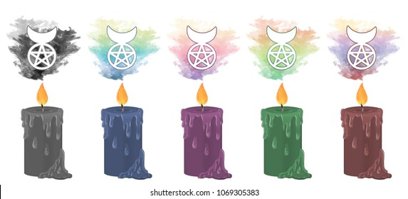 Colourful smoke rising from decorative candles with cernunnos, the horned god symbol, floating above.