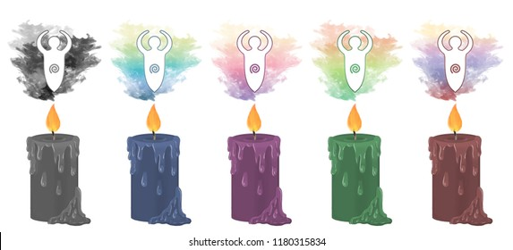 Colourful smoke rising from decorative candles with an image of the goddess fertility statue floating above.