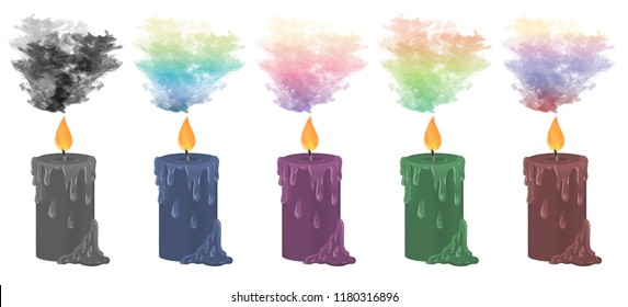 Colourful smoke rising from decorative candles.