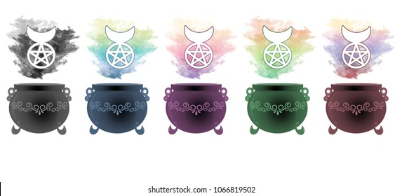 Colourful smoke rising from decorative cauldrons with the horned god symbol floating above.