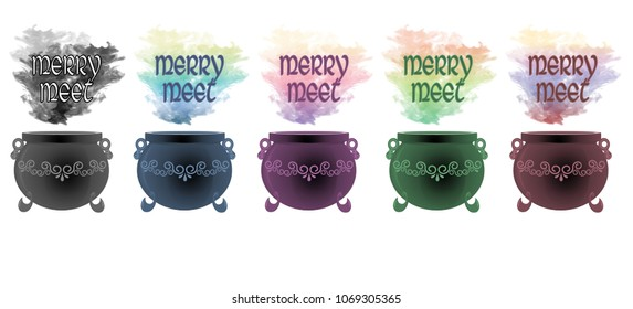 """Colourful smoke rising from decorative cauldrons with the wiccan greeting """"merry meet"""" floating above."""
