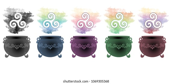 Colourful smoke rising from decorative cauldrons with the triple spiral, trinity symbol floating above.