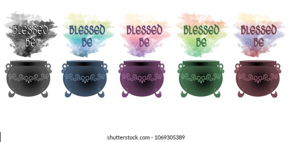 """Colourful smoke rising from decorative cauldrons with the wiccan greeting """"blessed be"""" floating above."""