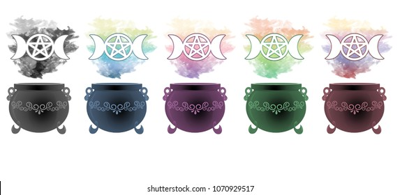 Colourful smoke rising from decorative cauldrons with the goddess symbol floating above.