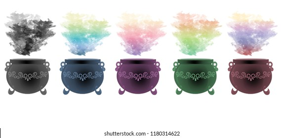 Colourful smoke rising from decorative cauldrons with scroll designs on them.