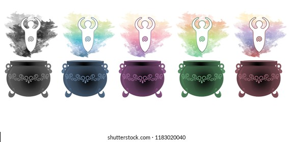 Colourful smoke rising from decorative cauldrons with the goddess statue of fertility floating above.