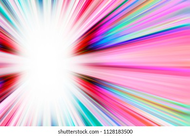 Colourful starburst light trails with white copy space
