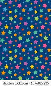 Colourful Stars with Blue Background, seamless repeat pattern, suitable for kids, children, party, stationery, raster illustration, 3300x5100pixels, 300dpi