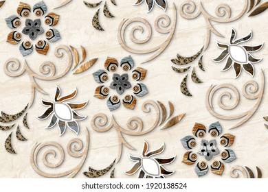 Colourful vintage ceramic tiles wall decoration.Turkish ceramic tiles wall decor background - 3D Illustration
