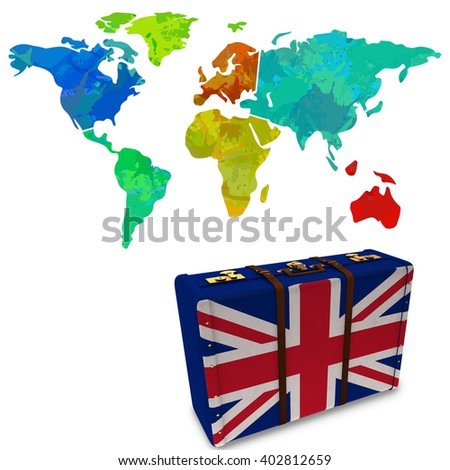 Colourful World Map Against Great Britain Stock Illustration